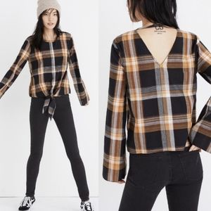 Madewell Tie-front Dark Plaid blouse